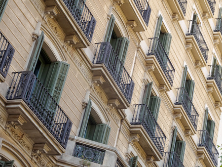 Geometric shapes on the facade of a modernist residential building - Barcelona, Catalonia, Spain