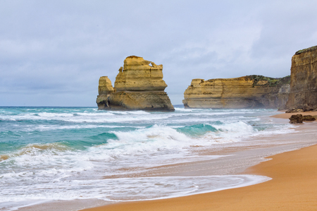 An enourmous offshore limestone stack and 70-metre high cliffs at Gibson Steps along the Great Ocean Road near the Twelve Apostles - Port Campbell, Victoria, Australia