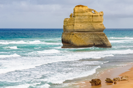 An enourmous offshore limestone stack at the Gibson Steps beach along the Great Ocean Road near the Twelve Apostles - Port Campbell, Victoria, Australia 写真素材