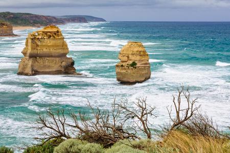 Two huge offshore limestone stacks of the Twelve Apostles - Port Campbell, Victoria, Australia 写真素材