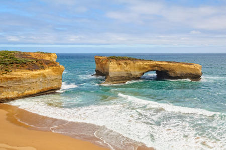 Up until January 1990 London Bridge was a double-spanning bridge connected to the mainland - Port Campbell, Victoria, Australia