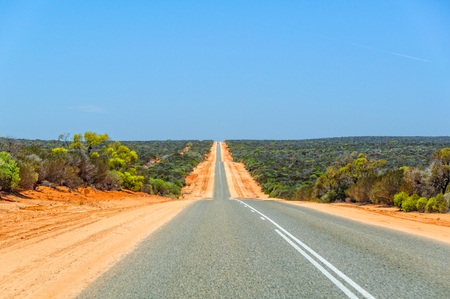 The 130km-long Shark Bay Road between the North West Coastal Highway and Denham - Coral Coast, WA, Australia