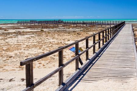 Boardwalk at Hamelin Pool above marine stromatolites - Denham, WA, Australia 写真素材