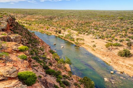 Murchison River from the Ross Graham Lookout - Kalbarri, WA, Australia Archivio Fotografico - 125675877