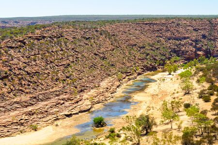 In summer there is not much flow in the Murchison River- Kalbarri, WA, Australia