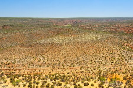 View of the arid landscape from the Hawks Head Lookout, a spectacular vantage point in the Kalbarri National Park - Kalbarri, WA, Australia
