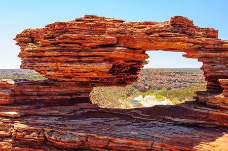 Nature's Window and the Murchison River gorge - Kalbarri National Park, WA, Australia 写真素材