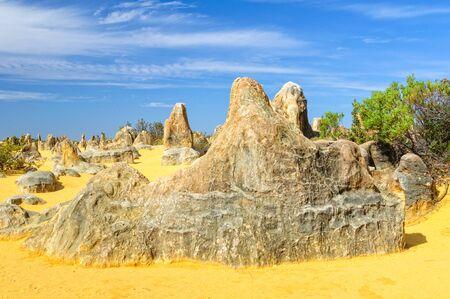 Limestone pillars in the Pinnacles Desert of the  Nambung National Park - Cervantes, WA, Australia