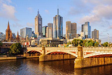 Princes Bridge spans the Yarra River in the city - Melbourne, Victoria, Australia