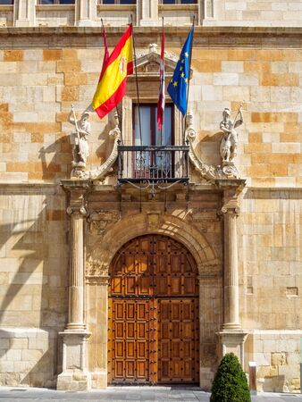 Front door of the 16th century Palace of the Guzmanes, the seat of the Provincial Government - Leon, Castile and Leon, Spain Publikacyjne