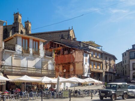 Cafes, bars and restaurants on the Main Square (Plaza Mayor) below the Church of San Francisco - Villafrance del Bierzo, Castile and Leon, Spain