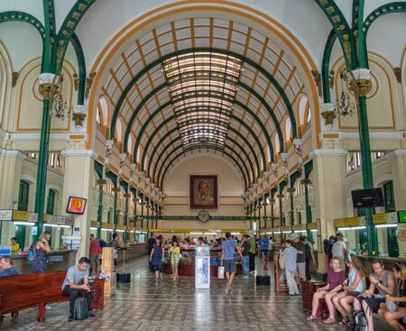 The Saigon Central Post Office is a prime example of French colonial architecture -  Ho Chi Minh City, Vietnam