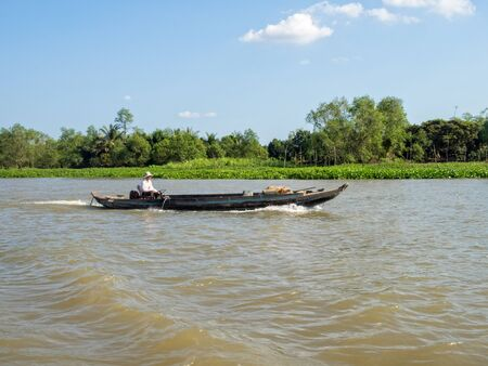 Boats are the main means of transportation in Mekong Delta - Vinh Long, Vietnam