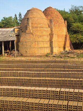 Bricks and clay brick making furnaces in the Mekong Delta - Tra Vinh, Vietnam