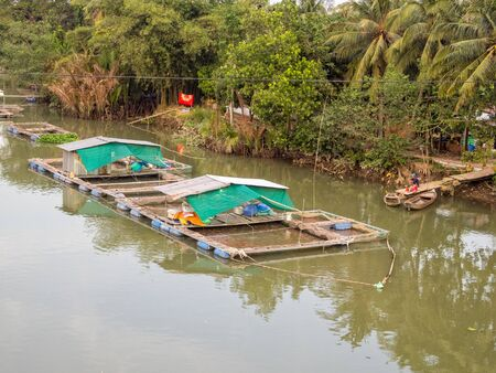 Fishery on a floating pontoon in the Mekong Rive Delta - Can Tho, Vietnam