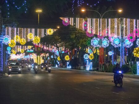 Neon lights for the Vietnamese New Year - Can Tho, Vietnam