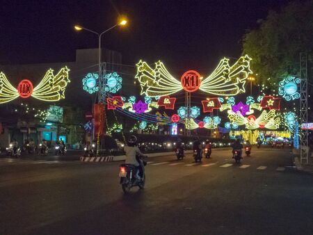 Neon lights for the 12th National Congress of the Communist Party - Can Tho, Vietnam