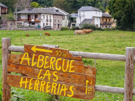 Welcome sign: refuge at the end of Camino Dragonte - Las Herrerias, Castile and Leon, Spain