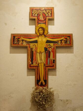 A replica of the 12th century icon Christ of San Damian in the pre-Romanesque Church of Santa Maria la Real - OCebreiro, Galicia, Spain