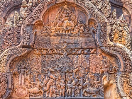 Fire in the Khandava Forest on a wall of the 'Citadel of the Women' - Banteay Srei, Cambodia
