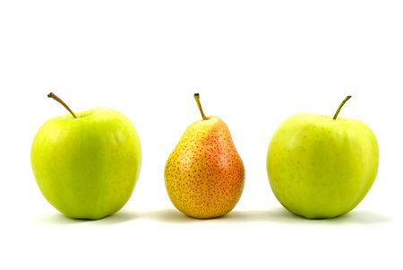 things that go together: apples and pear standing out from the crowd