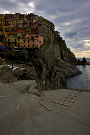 the stairs in village of manarola in the north of italy,liguria Stock Photo - 16056356