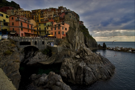 the stairs in village of manarola in the north of italy,liguria