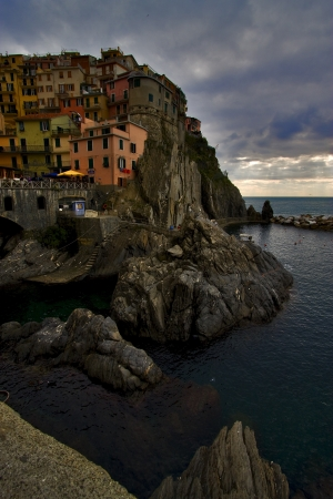 the stairs in village of manarola in the north of italy,liguria Stock Photo - 16056345