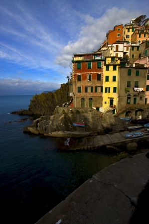the stairs in the village of riomaggiore in the north of italy,liguria Stock Photo - 16056344