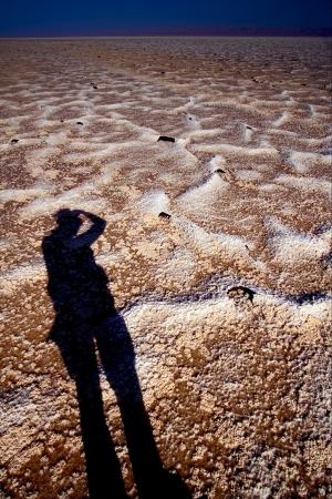 the salt lake desert in tunisia,chott el jerid Stock Photo