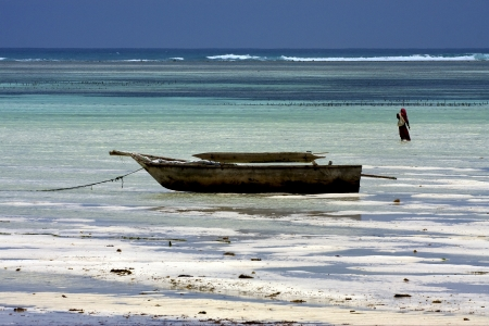 beach seaweed masai and boat in tanzania zanzibar photo