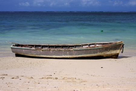 belle: boat and  beach in belle mare mauritius Stock Photo