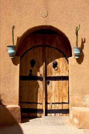old door in hotel in the city of matmata tunisia photo