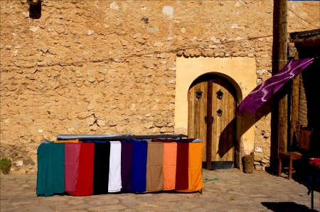 door market and clothes in tamerza tunisia Stock Photo