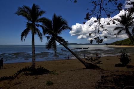 madagascar boat palm lagoon and coastline