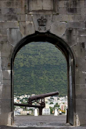 the fortification and a cannon in fort adelaide mauritius