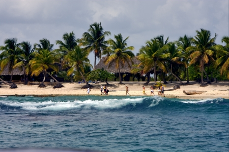 ocean coastline  cabin  house palm and tree in  republica dominicana