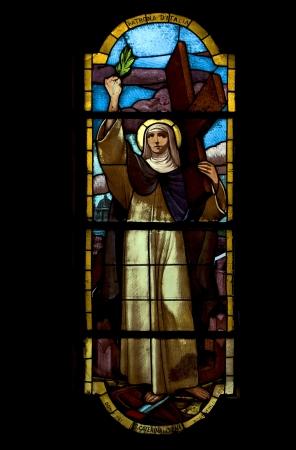 colored window: the colored window in the church of portofino italy santa caterina da siena