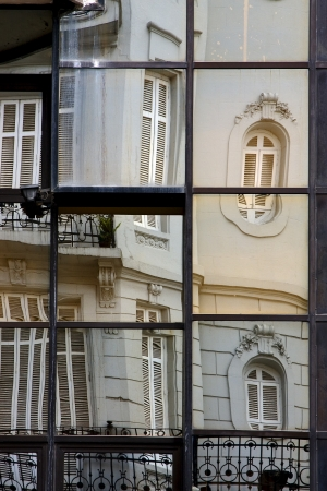 reflex of a palace in other and the centre of  buenos aires argentina