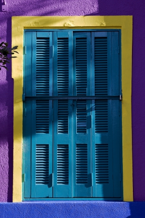 colored venetian blind and wall in la boca buenos aires argentina