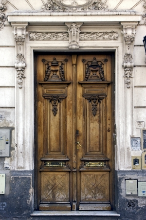 a brown wood old door in the centre of buenos aires argentina Stock Photo - 17478237