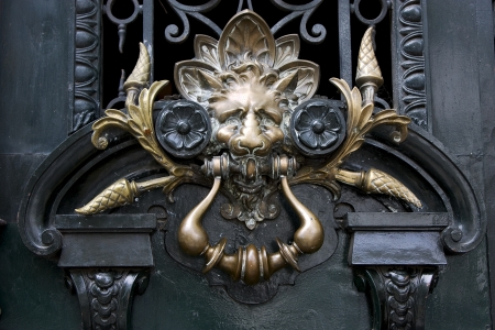 brass brown knocker in a closed green wood  door buenos aires argentina Stock Photo - 17711494