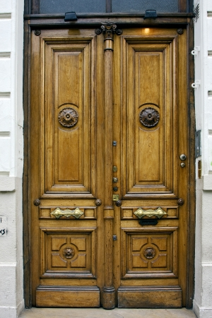 a brown wood old door in the centre of buenos aires argentina  photo