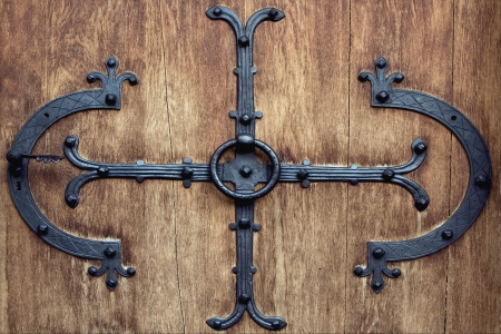 a brass brown knocker and wood  door neuschwainstain germany Stock Photo - 17830850