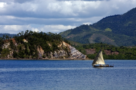 tropical lagoon hill navigable  froth cloudy   and coastline in madagascar nosy be 写真素材