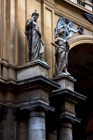 divinity: grey marble statue of divinity  in the monument galleria vittorio emanuele naples italy Stock Photo