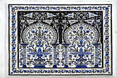 Traditional  blue mosaic piece of  ceramics in  Sidi Bou Said photo