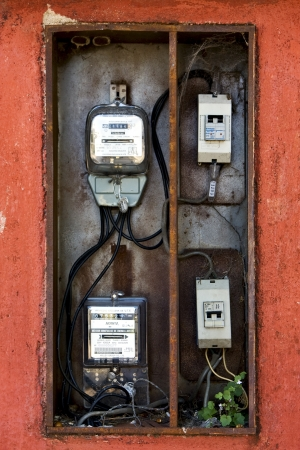 electric current: counter electric current to measure the consumption of electrical energy in colonia del sacramento uruguay  Stock Photo