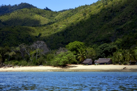 house hill navigable  froth cloudy  lagoon and coastline in madagascar nosy be Stock Photo