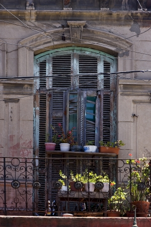 old   little terrace  blue green venetian blind and flower  in the centre of buenos aires la boca argentina photo